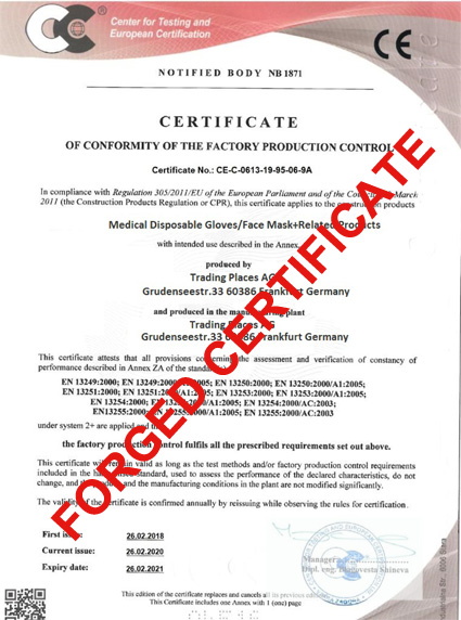 Certificate Trading Places Forged